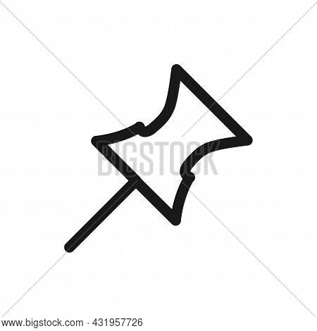 Push Pin Line Icon. Push Pin Isolated Simple Vector Icon