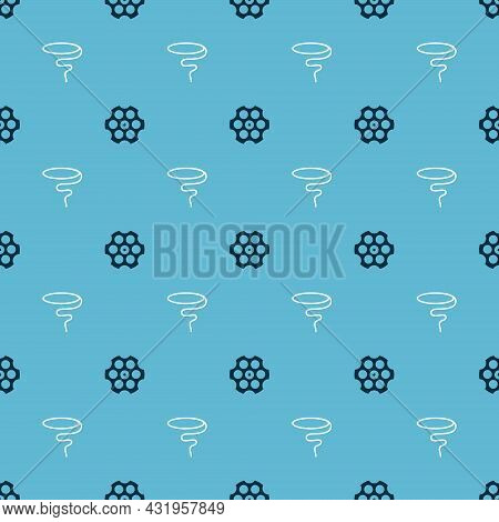 Set Revolver Cylinder And Lasso On Seamless Pattern. Vector