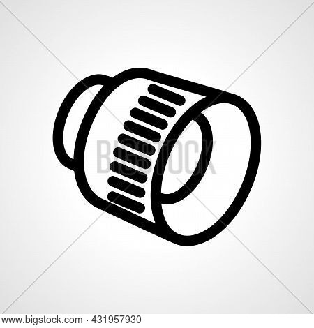 Camera Lens Line Icon. Camera Lens Isolated Simple Vector Icon.
