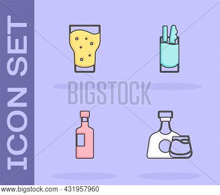 Set Whiskey Bottle And Glass, Glass Of Beer, Wine And Cocktail Bloody Mary Icon. Vector