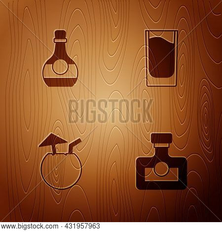 Set Alcohol Drink Rum, Bottle Of Cognac Or Brandy, Coconut Cocktail And Shot Glass On Wooden Backgro