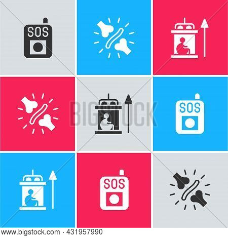 Set Press The Sos Button, Joint Pain, Knee Pain And Elevator For Disabled Icon. Vector