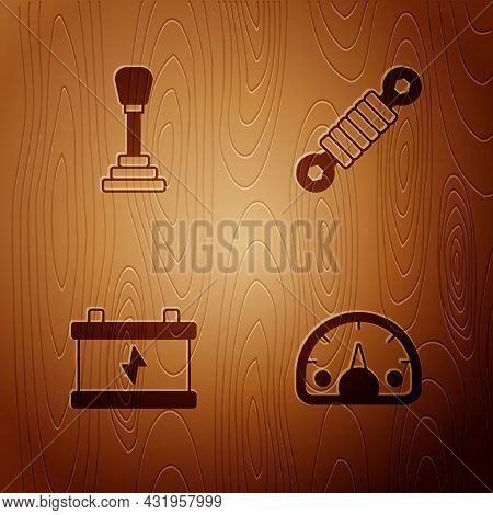 Set Speedometer, Gear Shifter, Car Battery And Shock Absorber On Wooden Background. Vector