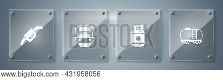 Set Oil Railway Cistern, Propane Gas Tank, Tanker Ship And Gasoline Pump Nozzle. Square Glass Panels