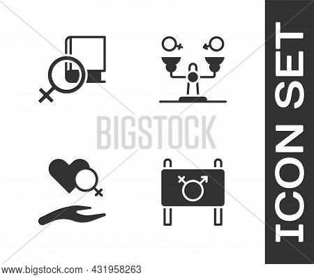 Set Feminist Activist, Book About Women, Heart With Female Gender And Gender Equality Icon. Vector
