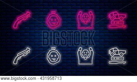 Set Line Murder, Thief Surrendering Hands Up, Police Shotgun And Car Theft. Glowing Neon Icon On Bri