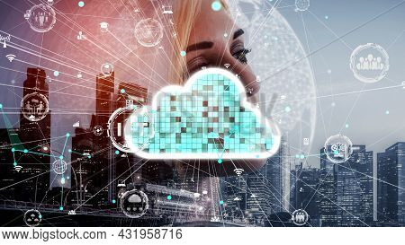 Conceptual Cloud Computing And Data Storage Technology For Future Innovation . 3d Render Computer Gr