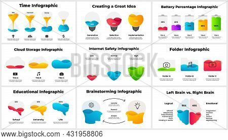 Multipurpose Infographics Pack. Presentation Slide Template. Human Head And Brain. Digital Internet