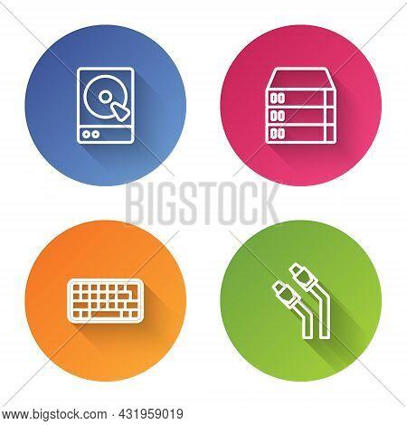 Set Line Hard Disk Drive Hdd, Server, Data, Web Hosting, Keyboard And Lan Cable Network Internet. Co