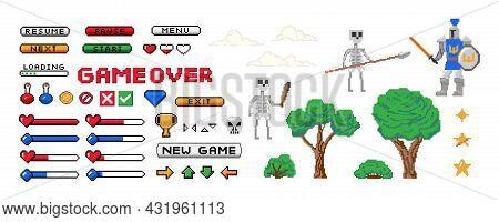 Game 8-bit Set. Pixel Start Screen And Interface Buttons. Player Character Enemies Life Bar And Awar