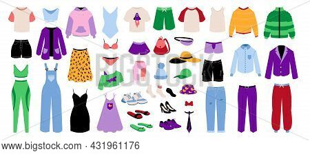 Cartoon Clothes. Fashion Men Or Women Garments. Children Clothing. Casual And Business Jackets. Seas
