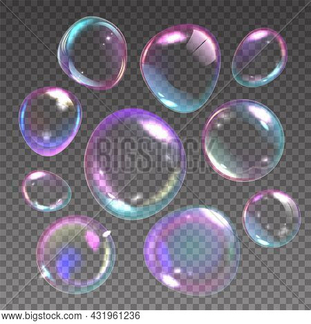 Foam Bubbles. Realistic Flying Soap Balls With Rainbow Reflections. 3d Shampoo Transparent Glass Sph
