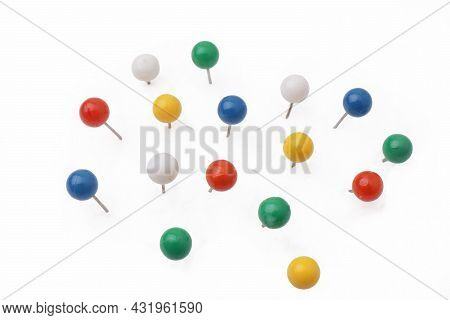 Colorful Push Pin Thumbtack Paper Clip Office Business Supplies Isolated On White