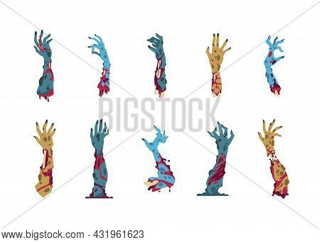 Zombie Hands. Cartoon Monster Arms For Halloween Party Invitation Cards And Celebration Posters. Iso