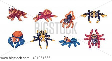 Cute Spider. Cartoon Child Insect Mascot With Big Eyes For Kids Illustration. Isolated Tarantula Cha