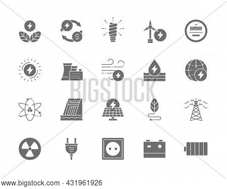 Set Of Energy Industry Gray Icons. Power Plant, Solar Station, Battery And More.