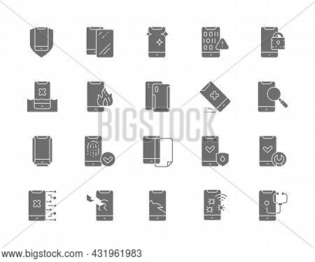 Set Of Phone Repair Grey Icons. Mobile Spam, Protective Glass, Software Virus