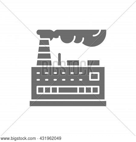 Industrial Building Factory, Power Plant Grey Icon.