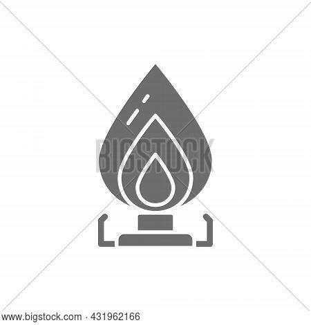 Vector Gas Stove, Oil Burner Grey Icon.