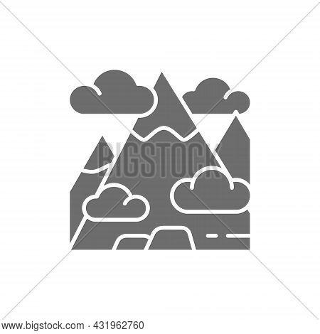Mountain, Mount, Hill, Travel, Tourism Grey Icon.