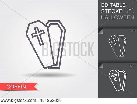 Open Coffin. Line Icon With Editable Stroke With Shadow