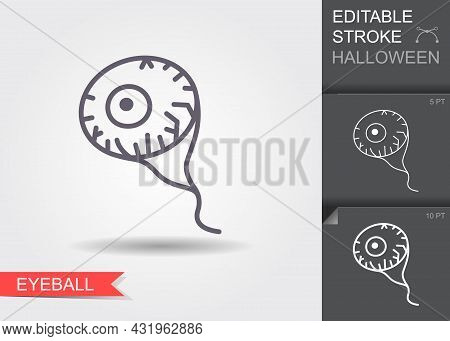 Eyeball. Line Icon With Editable Stroke With Shadow