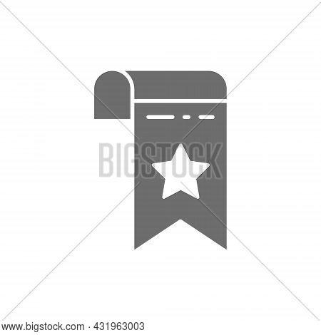 Bookmark, Webpage Marker Grey Icon. Isolated On White Background