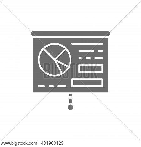 Graph Presentation, Whiteboard, Training, Billboard Grey Icon.