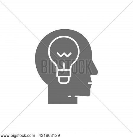 Head With Lamp, Idea Generation, Think, Thought Grey Icon.
