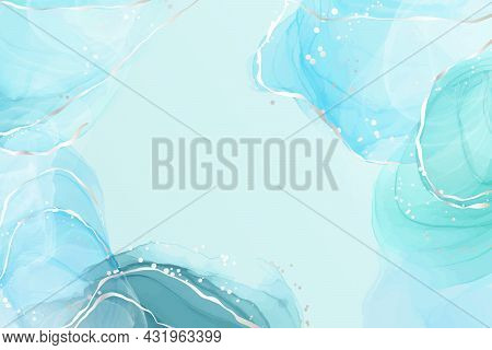 Abstract Turquoise And Teal Blue Liquid Marbled Watercolor Background With Silver Lines And Dots. Cy