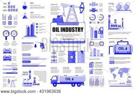 Bundle Oil Industry Infographic Ui, Ux, Kit Elements. Different Charts, Diagrams, Workflow, Transpor