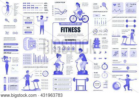 Bundle Fitness And Sports Infographic Ui, Ux, Kit Elements. Different Charts, Diagrams, Workflow, Fi