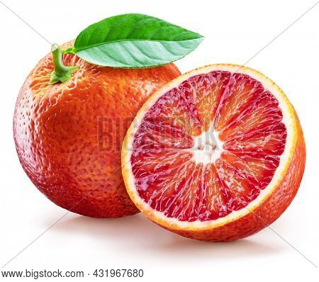 Red orange with green leaf and orange slice on white background. File contains clipping path.