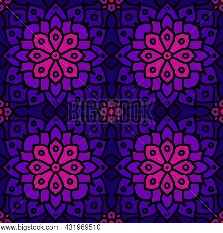 Purple Abstract Seamless Mosaic Ornament. Geometrical Oriental Floral Pattern. Bohemian Seamless Ori