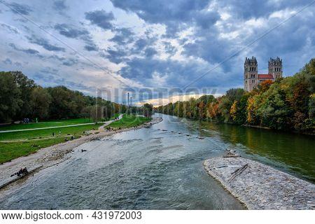 Munich view - Isar river, park and St Maximilian church from Reichenbach Bridge. Munchen, Bavaria, Germany.