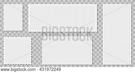Blank Postage Stamps. Flat Design. Vector Illustration Isolated On Transparent Background