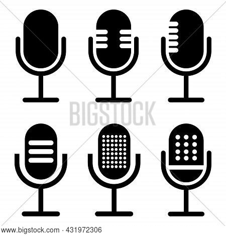 Microphone Icon Set. Different Microphone Collection Isolated On White Background