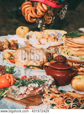Dishes Of The Traditional Belarusian Cuisine - Pancakes, Pancakes With Caviar, Lard, Bacon, Baked Ch