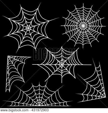 Set Of White Web Spider Cobweb. Vector Illustration Isolated On Dark Background