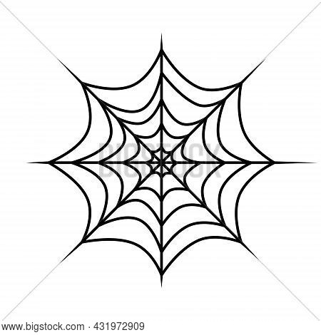 Spider Web Vector Icon. Outline Cobweb For Horror Halloween Party Designs. Vector Illustration Isola