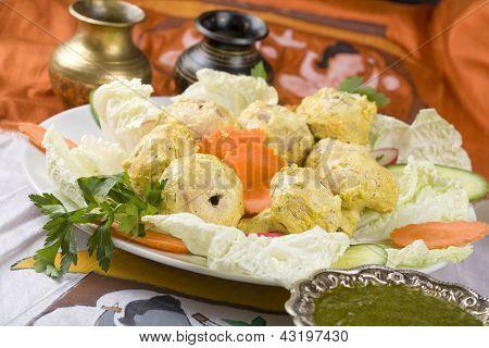Indian food, Malai Mushroom Tikka, mushrooms in marinade.