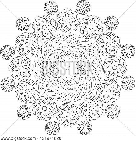A Vector Outline Colorless Ethnic Circle Mandala