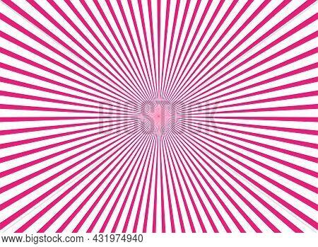 Sunlight Horizontal Background. Pink And White Color Burst Background. Vector Illustration. Sun Beam