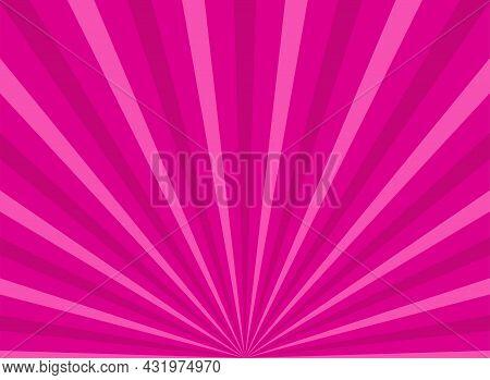 Sunlight Horizontal Background. Pink Color Burst Background. Vector Illustration. Sun Beam Ray Sunbu