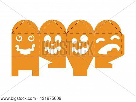 Halloween Treat Box With Scary Pumpkins. Jack-o-lantern Facial Gift Party Packaging For Sweets, Cand