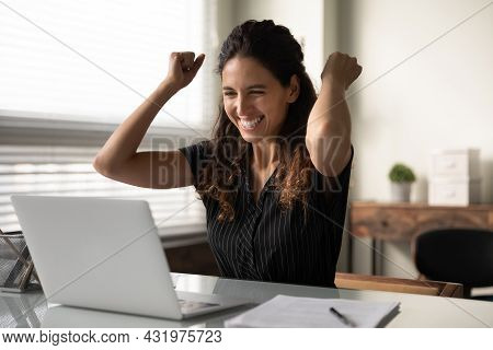 Happy Excited Millennial Businesswoman In Casual Excited With Good News
