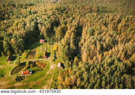 Belarus, Berezinsky Biosphere Reserve. Birds-eye View Of Nivki Tourist Complex In Autumn Sunny Day.