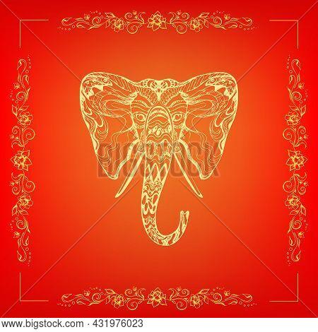 Stylish Fancy Ornate Elephant Head, Ganesh Chaturthi Festival, Unique Hand Drawn Ethnic Outline, Ele