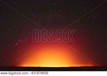 Night Sky With Glowing Stars Background Backdrop. Sky Gradient. Sunset, Sunrise Lights And Colourful