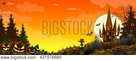 Pumpkins And A Scarecrow Against The Background Of A Forest, A Castle, And A Sky With Clouds. Grass.